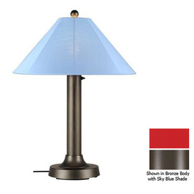 Patio Living Concepts 34-in Bronze Outdoor Table Lamp with Fabric Shade