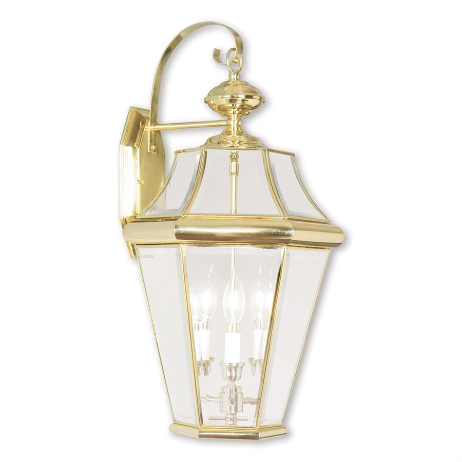 Shop livex lighting georgetown 24 in h polished brass for Brass outdoor lighting