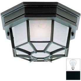 Livex Lighting 9-in W Black Outdoor Flush-Mount Light