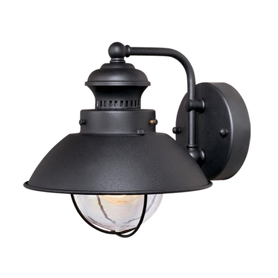 Outdoor Wall Light Fixtures Lowes : Shop Cascadia Lighting Nautical 8-in H Textured Black Outdoor Wall Light at Lowes.com
