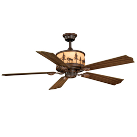 Cascadia Lighting Yellowstone 56-in Burnished Bronze Downrod Mount Indoor Ceiling Fan with Remote (5-Blade)