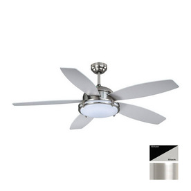 Cascadia Lighting Taliesin 52-in Satin Nickel Indoor Downrod Mount Ceiling Fan with Light Kit and Remote Control