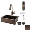 Premier Copper Products Single-Basin Apron Front/Farmhouse Copper Kitchen Sink with Faucet