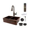 Premier Copper Products 22-in x 33-in Oil-Rubbed Bronze 2-Basin Copper Apron Front/Farmhouse-Hole Kitchen Sink with Faucet Set