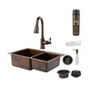 Premier Copper Products Double-Basin Undermount Copper Kitchen Sink with Faucet