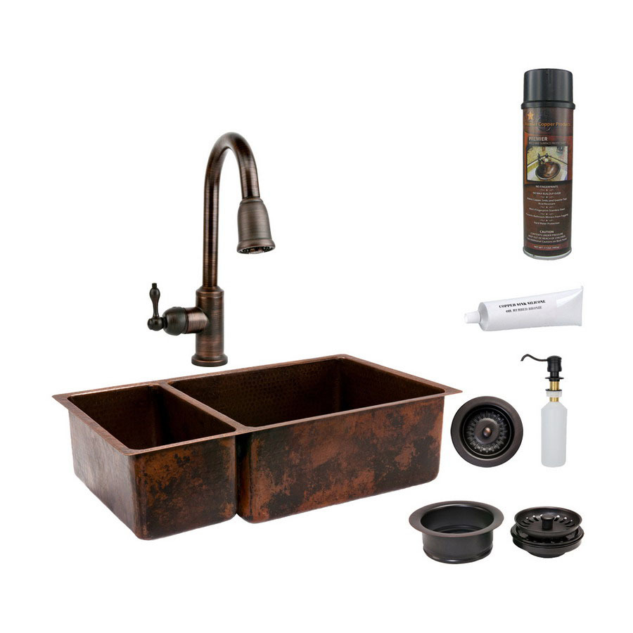 Shop premier copper products double basin undermount for Best kitchen faucet for double sink