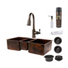 Premier Copper Products 22-in x 42-in Oil-Rubbed Bronze 3-Basin Copper Undermount-Hole Kitchen Sink with Faucet Set