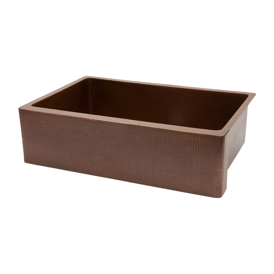 Copper Products Single-Basin Apron Front/Farmhouse Copper Kitchen Sink ...