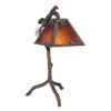 Shadow Mountain 30-in Tree Bark Table Lamp with Amber Mica Shade