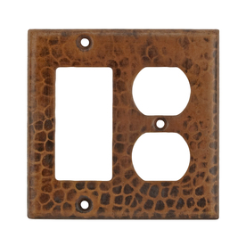 Premier Copper Products 2-Gang Oil-Rubbed Bronze Combination Metal Wall Plate