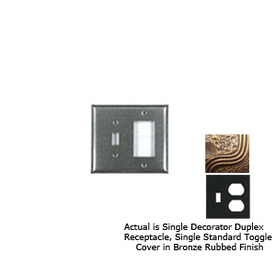 Anne at Home 2-Gang Bronze Rubbed Combination Pewter Wall Plate