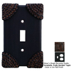 Anne at Home Roguery 2-Gang Iron Red Combination Pewter Wall Plate