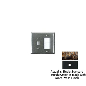 Anne at Home 1-Gang Black with Bronze Wash Standard Toggle Pewter Wall Plate