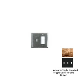 Anne at Home 3-Gang Gold Standard Toggle Pewter Wall Plate