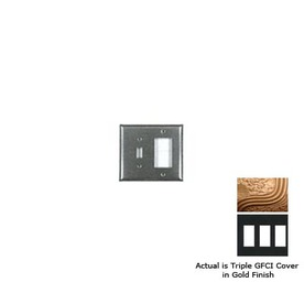 Anne at Home 3-Gang Gold GFCI Pewter Wall Plate