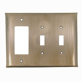 Anne at Home 3-Gang Pewter with Bronze Wash Triple Toggle/Decorator Wall Plate