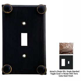 Anne at Home Button 2-Gang Pewter with Terra Cotta Wash Combination Pewter Wall Plate