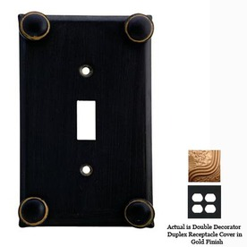 Anne at Home Button 2-Gang Gold Decorator Duplex Receptacle Pewter Wall Plate