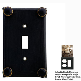 Anne at Home Button 2-Gang Pewter with Bronze Wash Combination Pewter Wall Plate