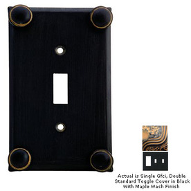 Anne at Home Button 3-Gang Black with Maple Wash Combination Pewter Wall Plate