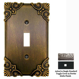 Anne at Home Corinthia 1-Gang Pewter Matte Standard Toggle Pewter Wall Plate