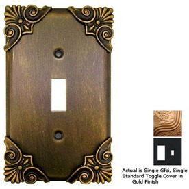 Anne at Home Corinthia 2-Gang Gold Combination Pewter Wall Plate