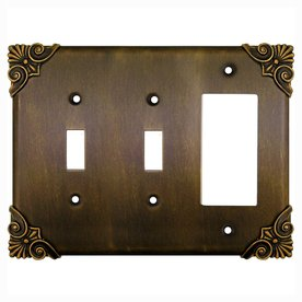 Anne at Home Corinthia 3-Gang Bronze Rubbed Combination Pewter Wall Plate