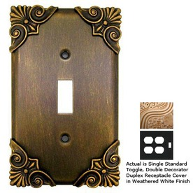 Anne at Home Corinthia 3-Gang Weathered White Combination Pewter Wall Plate
