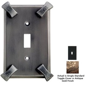 Anne at Home Hammerhein 1-Gang Antique Gold Standard Toggle Pewter Wall Plate