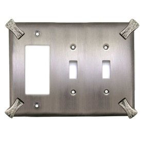 Anne at Home Hammerhein 3-Gang Matte Pewter Triple Toggle/Decorator Wall Plate