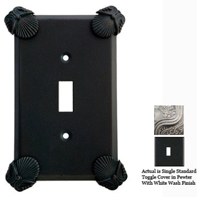 Anne at Home Oceanus 1-Gang Pewter with White Wash Standard Toggle Pewter Wall Plate