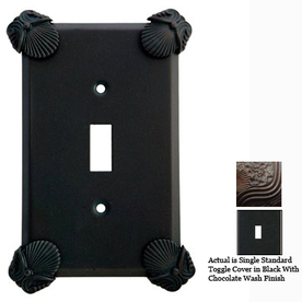 Anne at Home Oceanus 1-Gang Black with Chocolate Wash Standard Toggle Pewter Wall Plate