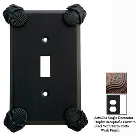 Anne at Home Oceanus 1-Gang Black with Terra Cotta Wash Decorator Duplex Receptacle Pewter Wall Plate