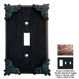 Anne at Home Sonnet 3-Gang Pewter with Cherry Wash Combination Pewter Wall Plate