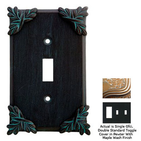 Anne at Home Sonnet 3-Gang Pewter with Maple Wash Combination Pewter Wall Plate