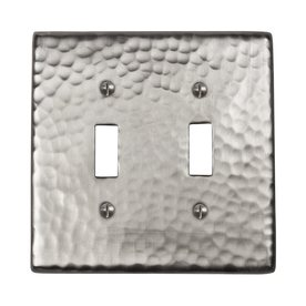 The Copper Factory Artisan 2-Gang Satin Nickel Standard Toggle Metal Wall Plate