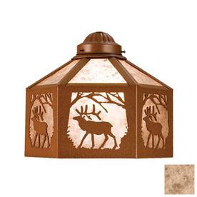 Meyda Tiffany 1-Light Rust Ceiling Fan Light Kit with Silver Mica Glass