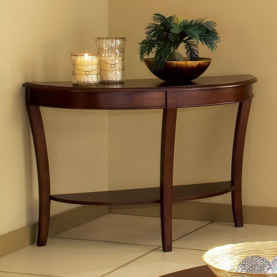 Shop steve silver company troy cherry half round console for Sofa table cherry