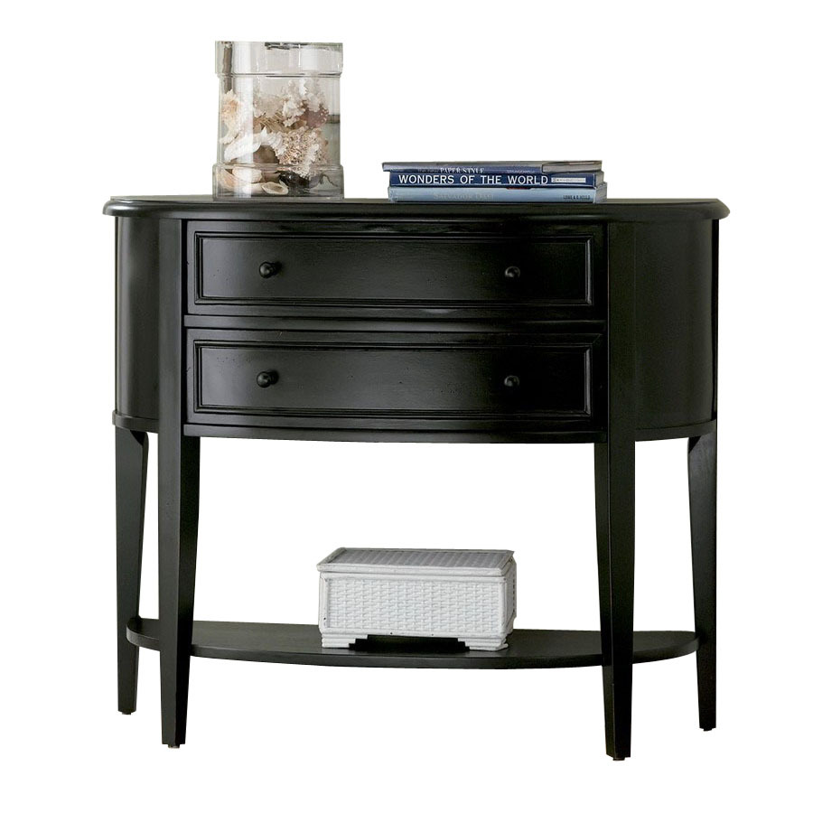 Shop powell antique black rubberwood half round console for Demilune console table with drawers