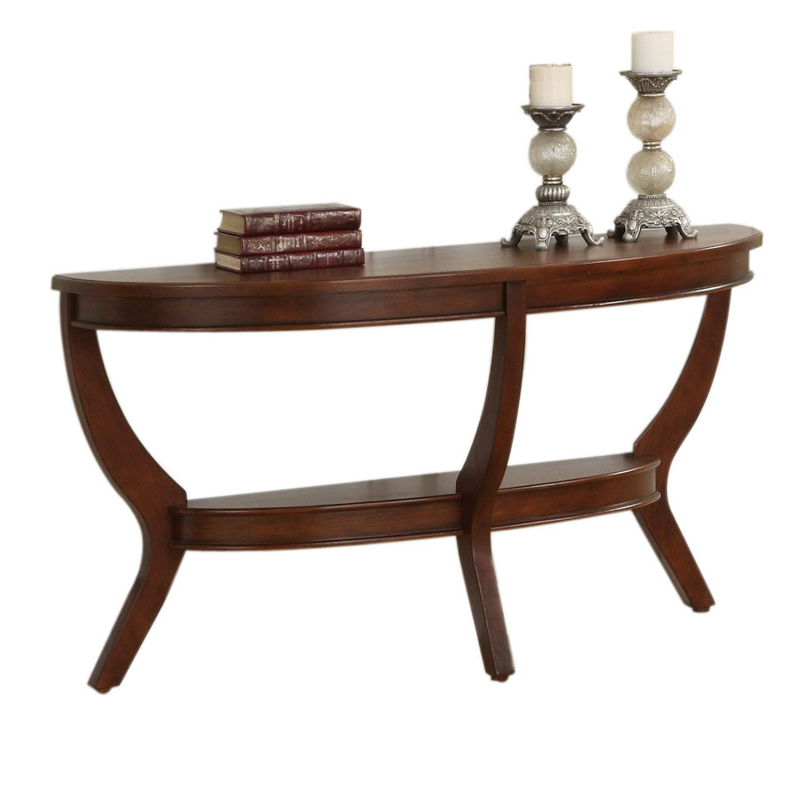 Shop homelegance avalon low sheen cherry poplar half round for Low sofa table