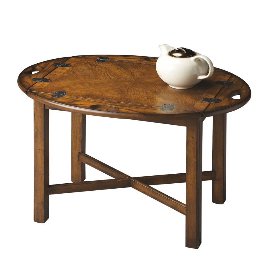 Shop butler specialty masterpiece vintage oak oval coffee table at Butler coffee tables