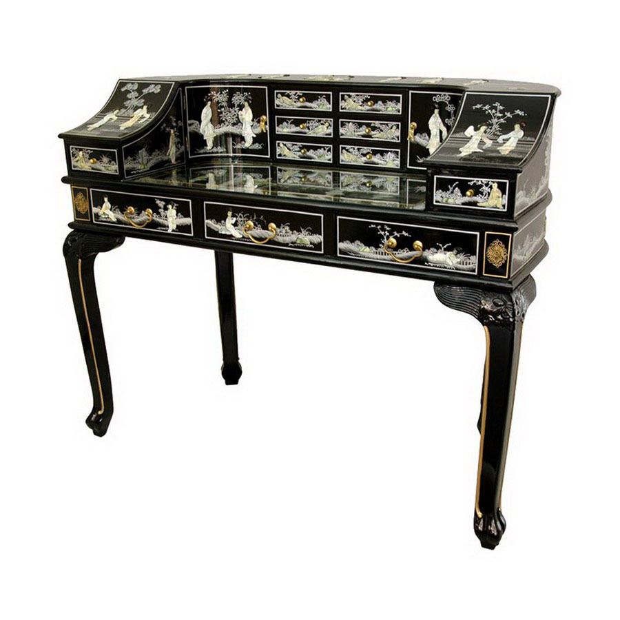 Shop Oriental Furniture Lacquer Black Lacquer Writing Desk