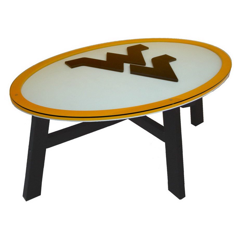 West Virginia University Birch Oval Coffee Table At