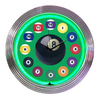 Neonetics Standard/Arabic Numeral Billiard Ball Green Neon Chrome Clock