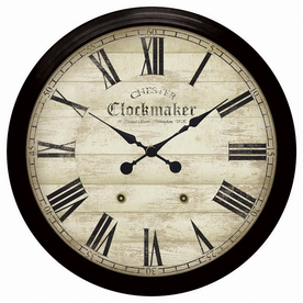 Infinity Instruments Roman Numeral Chester Clockmaker Black Wall Clock
