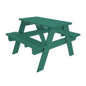 POLYWOOD 33-in Aqua Plastic Rectangle Picnic Table
