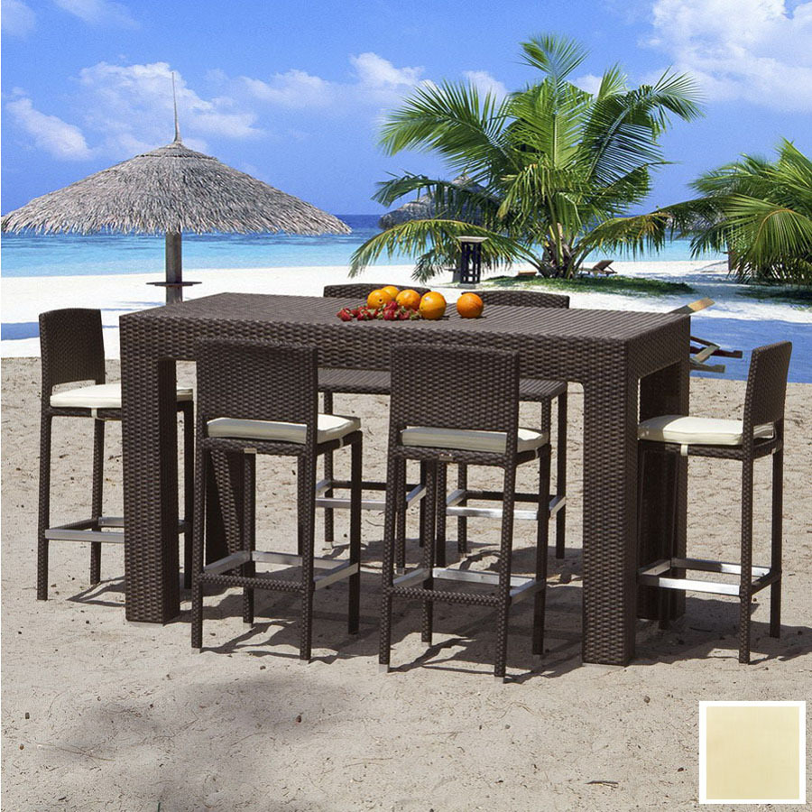 shop source outdoor 7 piece zen aluminum patio bar height set at lowes