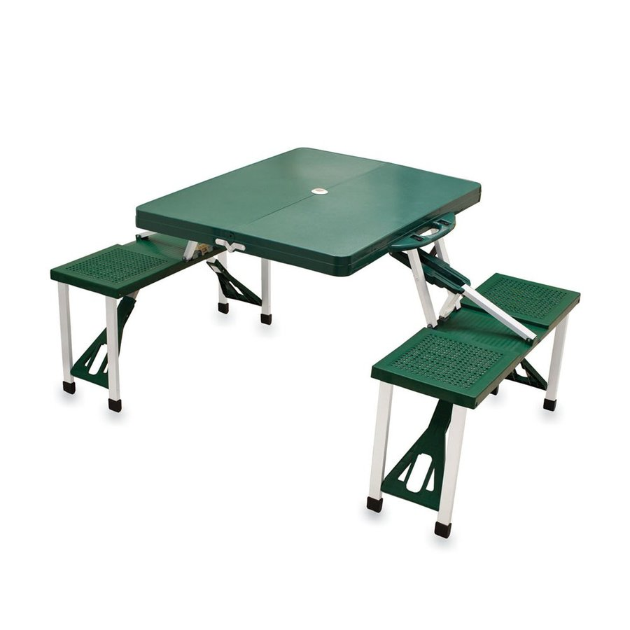 Plastic Picnic Table : Picnic Time 4-ft 6-in Green Plastic Rectangle Folding Picnic Table ...
