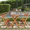 VIFAH Glaser 3-Piece Eucalyptus Bistro Patio Dining Set