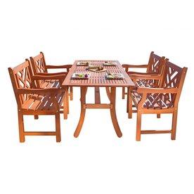 VIFAH Atlantic 5-Piece Eucalyptus Patio Dining Set